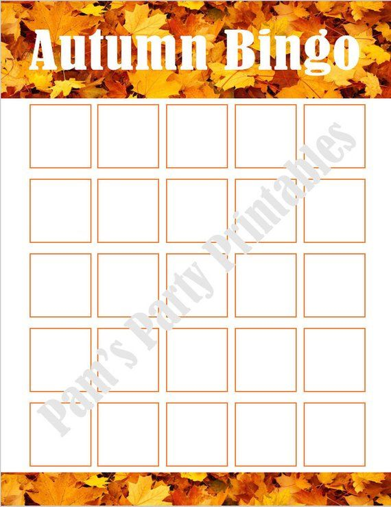 photograph regarding Fall Bingo Printable called Blank Autumn Drop Thanksgiving Bingo Printable for Do-it-yourself
