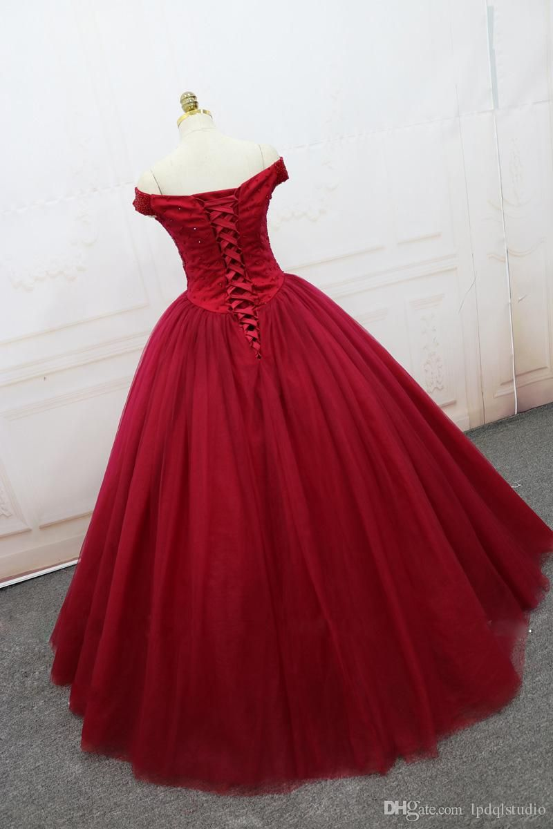 Sparkling quinceanera dresses ball gown dark red evening dress lace