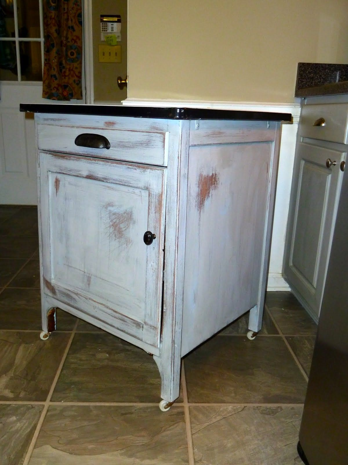 Nice A Client Brought Me This Really Cool Vintage Enamel Topped Cabinet To  Transform.