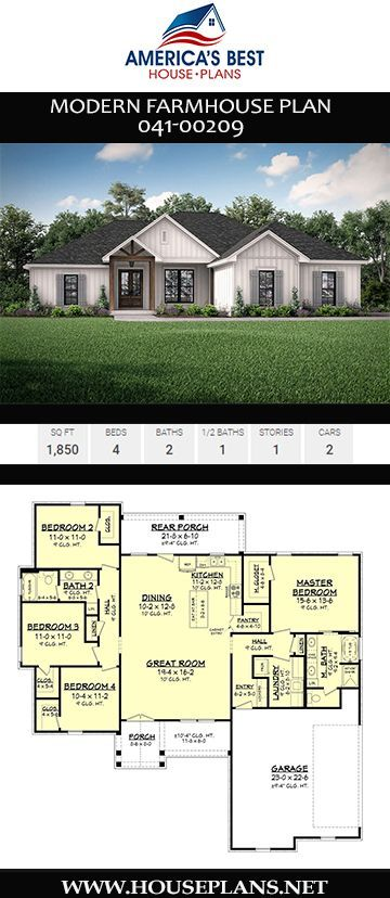 Modern Farmhouse Plan 041 00209 In 2020 Modern Farmhouse Plans Ranch House Plans House Plans Farmhouse