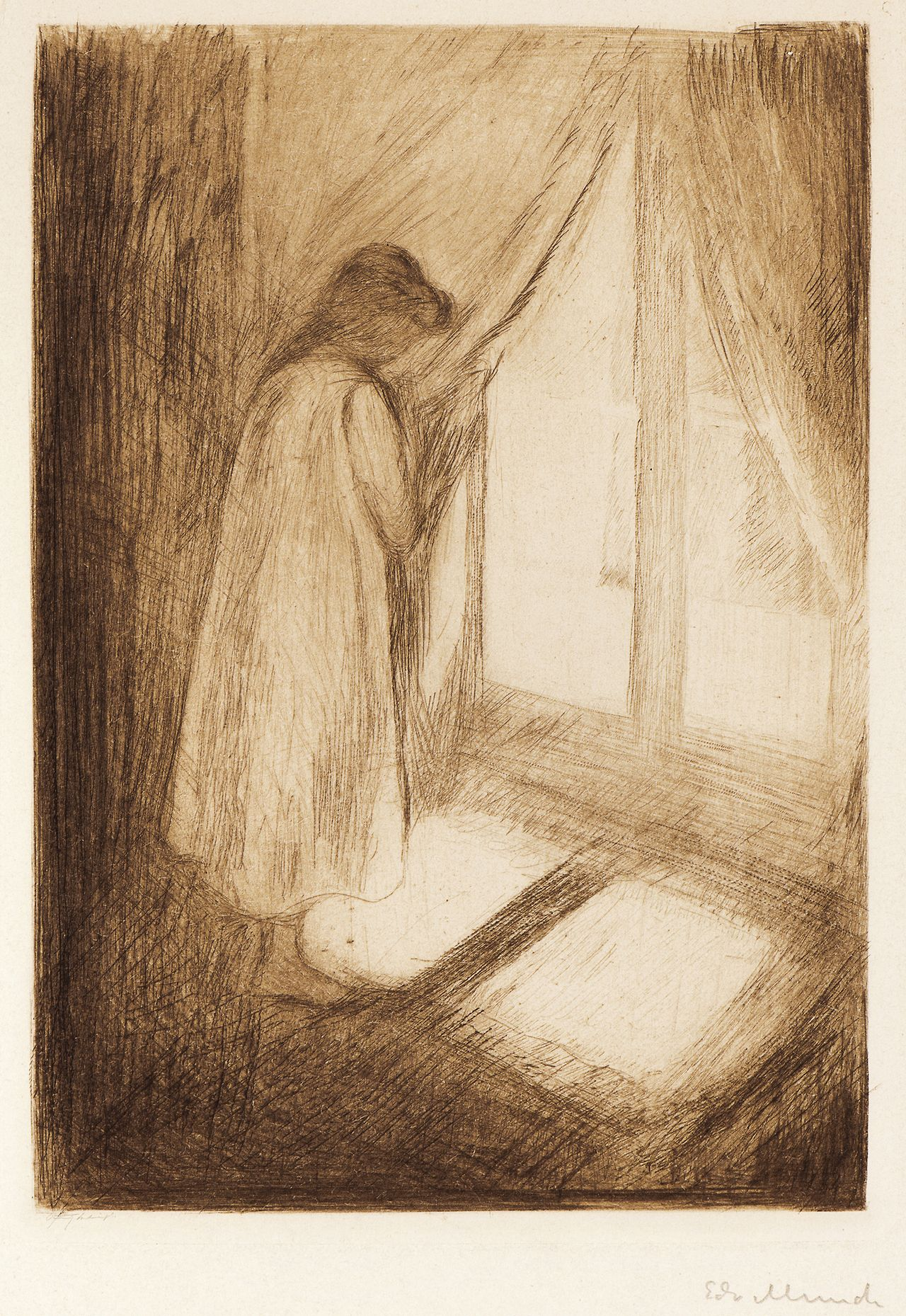 Edvard Munch - The Girl at the Window. Expressionism.