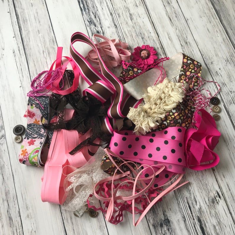 Lace Bundle Pink Ribbon Decorative Trim Vintage Ribbon Etsy Vintage Ribbon Pink Ribbon Pink Brown