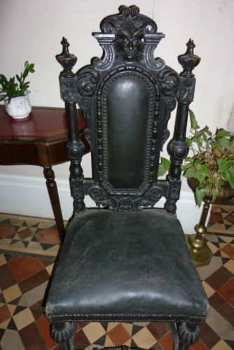 Surprising Stunning Set Of 6 Ornate Carved Victorian Jacobean Gothic Bralicious Painted Fabric Chair Ideas Braliciousco