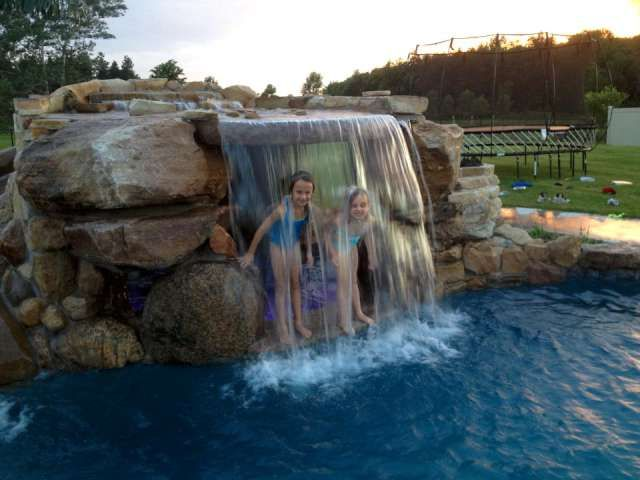 inground pools with waterfalls and hot tubs. 80 Fabulous Swimming Pools With Waterfalls (Pictures) | Concrete Steps, Stone Walls And Natural Stones Inground Hot Tubs