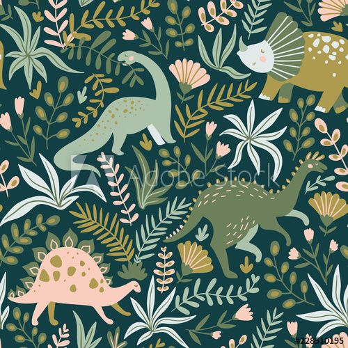 Hand drawn seamless pattern with dinosaurs and tropical leaves and flowers. Perfect for kids fabric, textile, nursery wallpaper. Cute dino design. Vector illustration. #dinosaurillustration