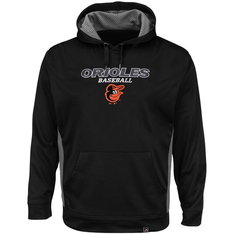Baltimore Orioles Majestic Men's Big & Tall Rookie Phenom Synthetic Hoodie - Black