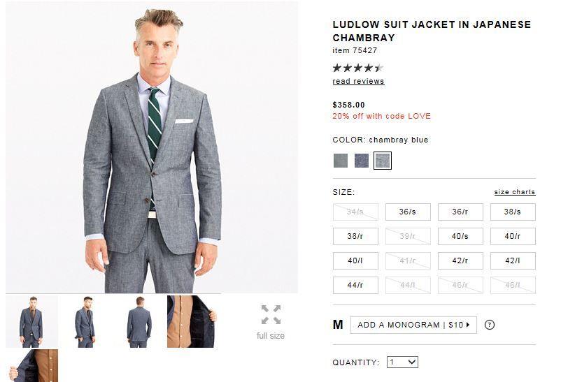 J crew blue chambray suit jacket ludlow suit suit