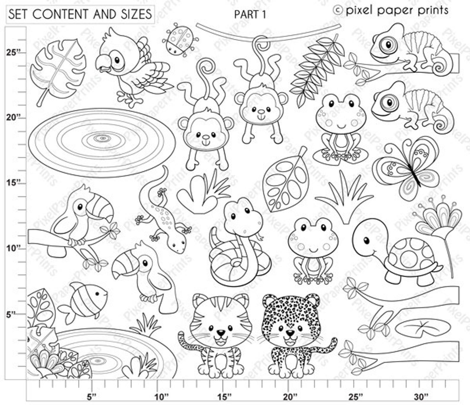 Rainforest Animals Digital Stamps Clipart Etsy Digital Stamps Rainforest Animals Coloring Pages