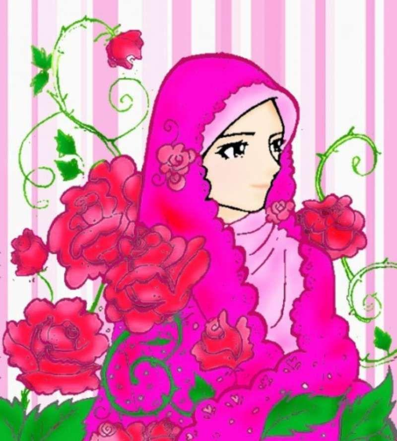 14 Kartun Muslimah Imut Membawa Bunga Anak Cemerlang Kartun In