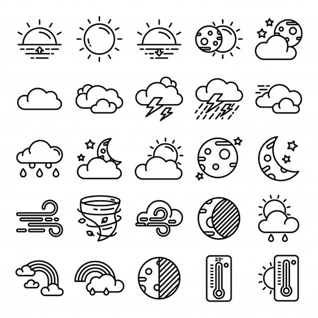 Weather Icons Pack Paid Affiliate Paid Pack Icons Weather Simple Doodles Easy Doodle Art Mini Drawings
