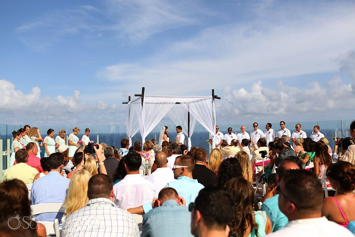 cancun destination wedding at the beach palace resort the sky deck is a great spot