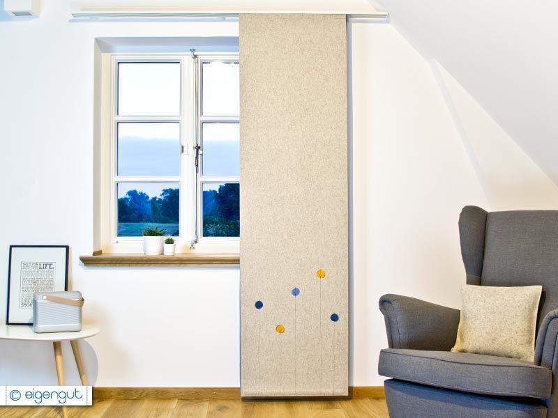 Schwerer Vorhang Sammlung : Vorhang aus filz mit dots blumen nach maß vorhänge