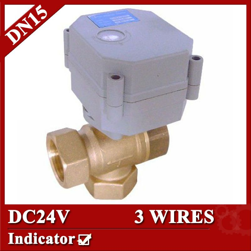 1 2 Dc24v Brass 3 Way T Port Motorized Valve Electric Ball Valve 3 Wires Cr301 Dn25 Electric Valve Solar Heating System Solar Heating Air Conditioning Fan