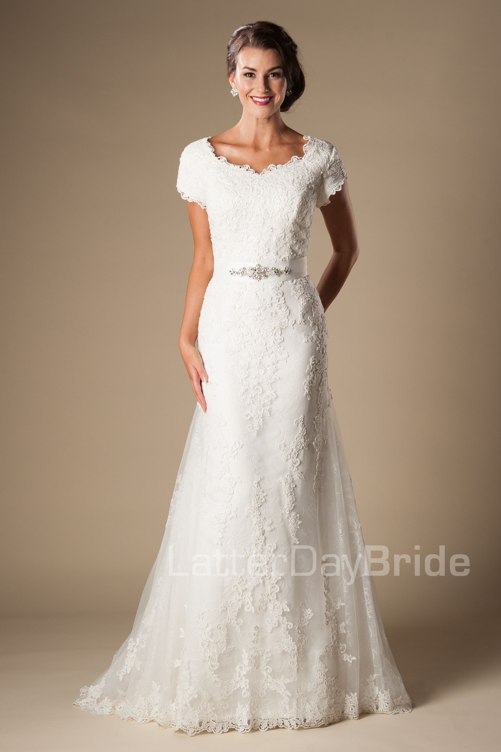 Emmerson modest lace fit and flare 1250 found at for Modest lace wedding dresses