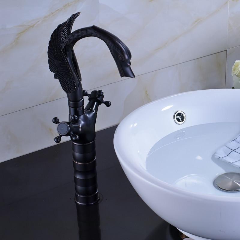 Photo of Swan Shape Black Bronze Dual Cross Handle Basin Faucet