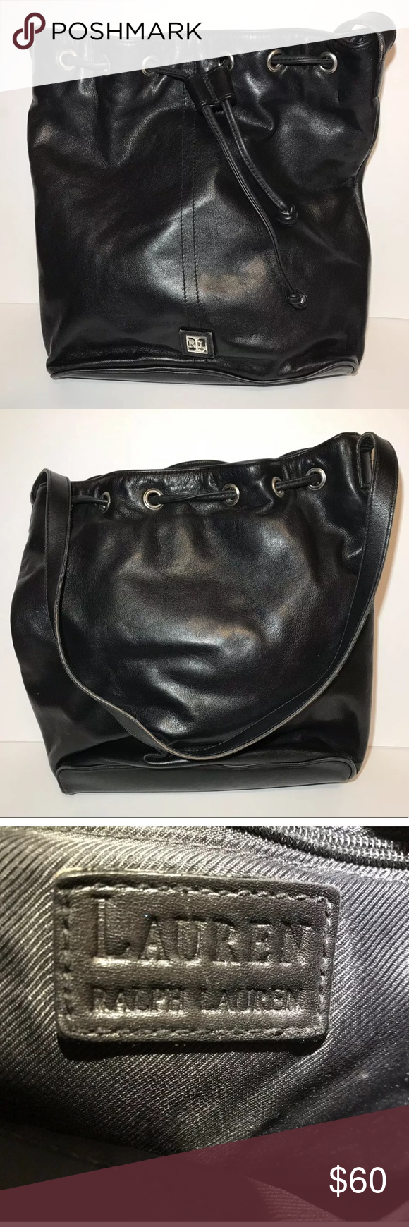 "2b4770f4d53 Lauren Ralph Lauren Purse. Black Leather. Lauren Ralph Lauren Purse. Black  Leather. 11.5"" tall. 10.25"" wide. Very good pre-owned condition."