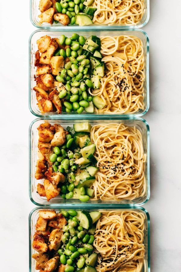 15 Minute Meal Prep: Sesame Noodle Bowls | Pinch of Yum | Bloglovin' #Bowls #fitness food clean eati...
