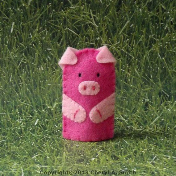 Little Piggy Finger Puppet Pink Pig Puppet Felt by cherylasmith ...