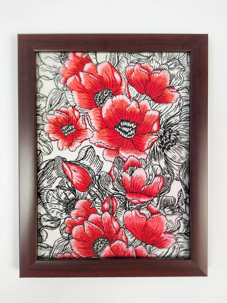 Black Red Peonies Wall Art Hand Embroidered Framed Peony Etsy Red Peonies Peony Art Wall Art
