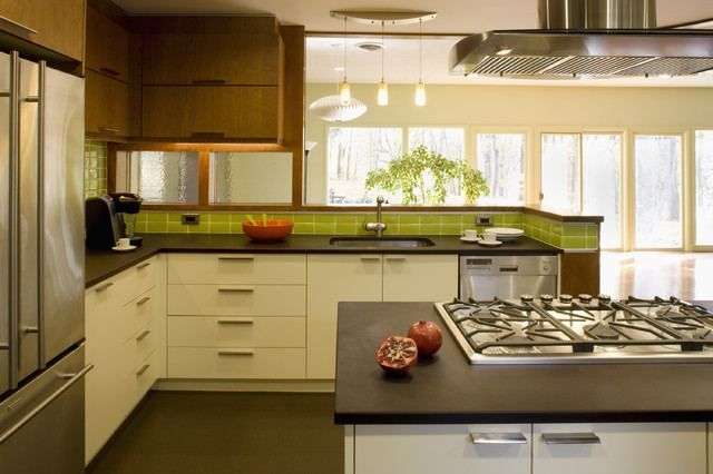 Mid Century Modern Kitchen Remodel Ideas White Ceramic Backsplash ...
