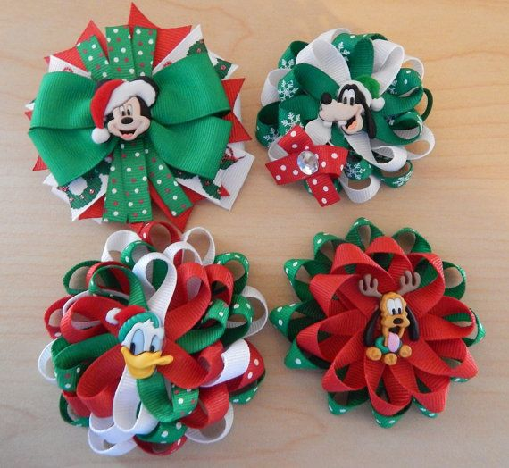 Disney Christmas Hair Bows, Mickey Mouse Christmas Hair Bows Set, Xmas bows, Holiday hair bows, Mickey Christmas in July #holidayhair