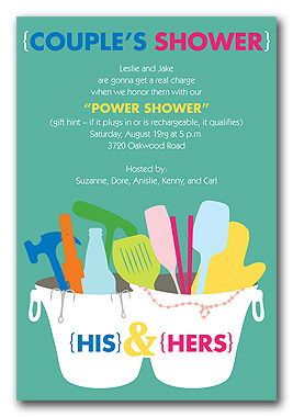 Couples shower the invite is weird but kind of a cool way so the bridal shower invitations tips for couples showers power shower for items with plugs filmwisefo Images