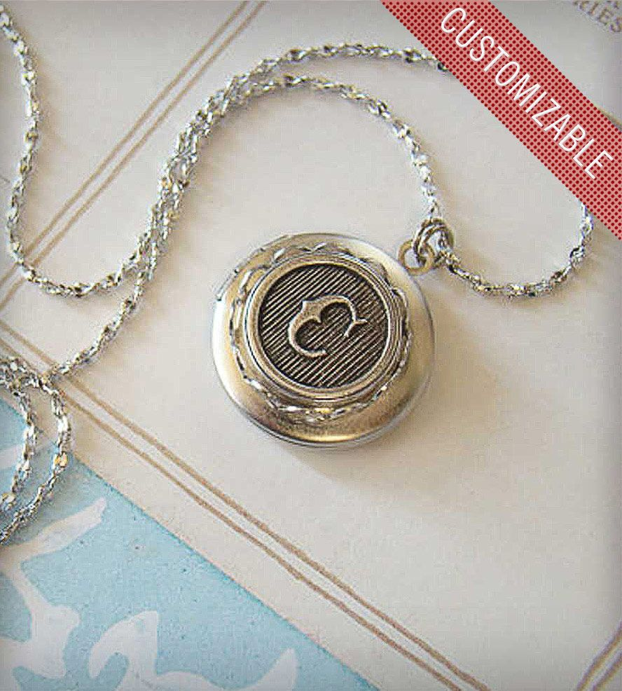 Custom monogram locket u silver jewerly pinterest monograms