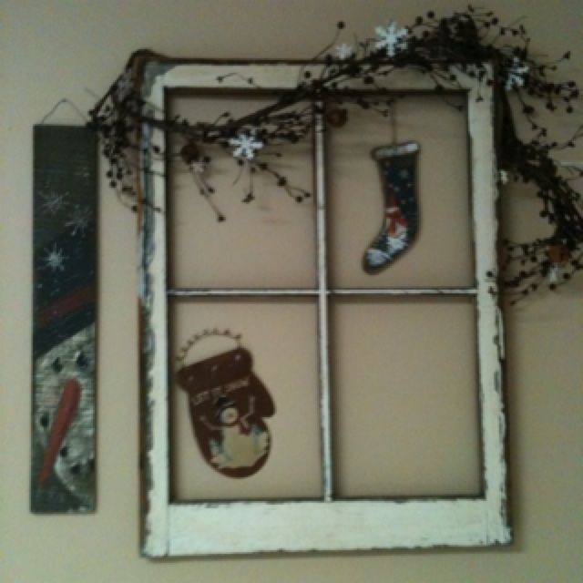 Decorating Ideas With Old Windows   Old window and winter ...