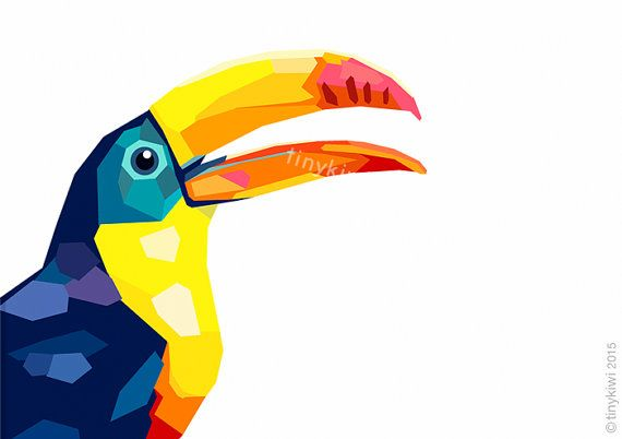 Toucan Geometric print Art print Original by tinykiwiprints