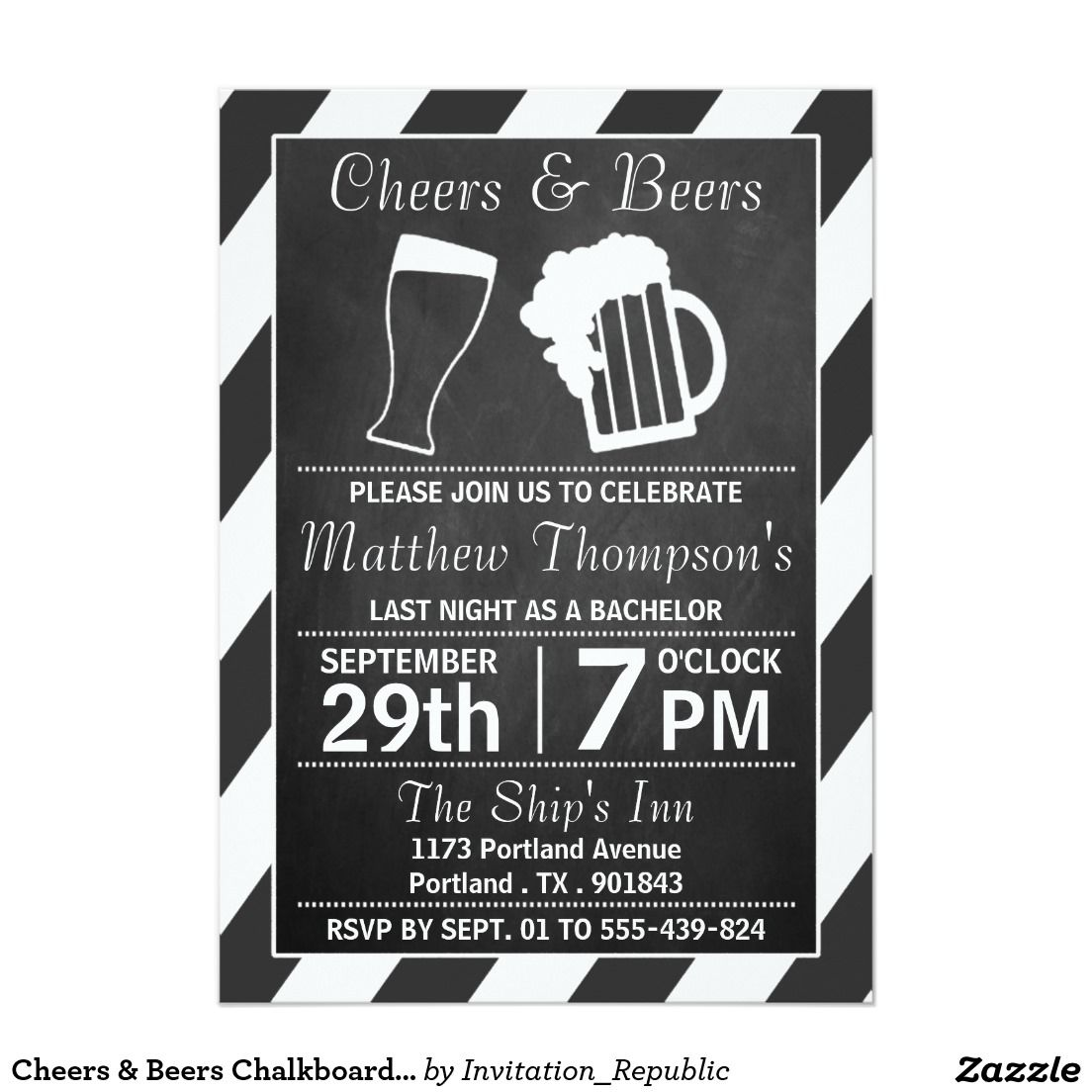 Cheers & Beers Chalkboard Bachelor Party Invitation  Zazzle.com