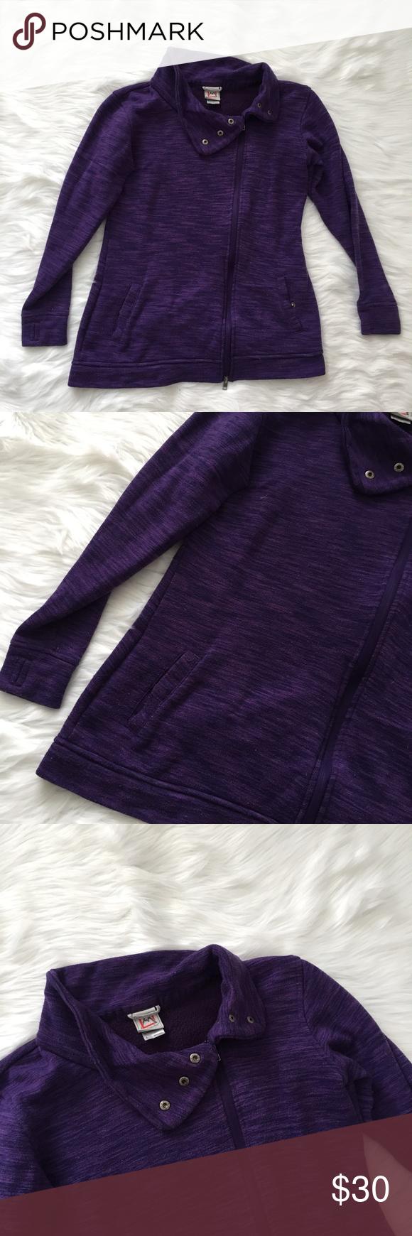 Avalanche purple asymmetrical zip fleece jacket smoke free