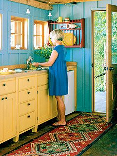 Lovely Blue Walls Yellow Cabinets In This Tiny Kitchen Via My Home Ideas In Tight Spaces Make Smart Use Beach House Kitchens Home Kitchens Yellow Kitchen