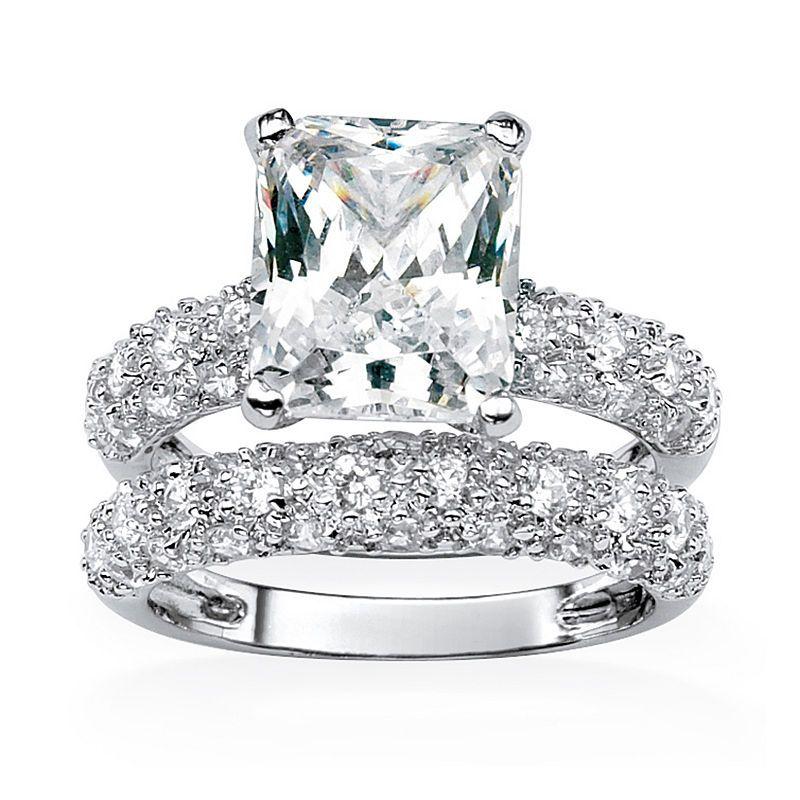 Diamonart Womens White Cubic Zirconia Platinum Over Silver Bridal Set Cubic Zirconia Wedding Rings Engagement Rings Wedding Bands Set Bridal Engagement Rings