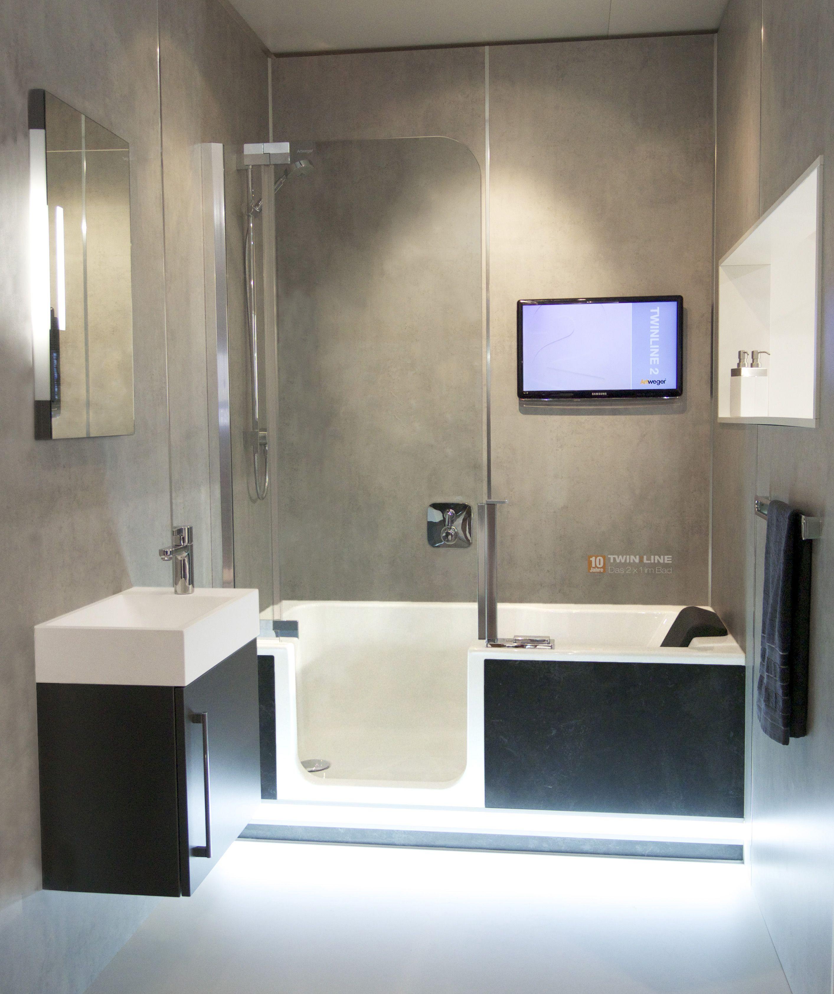 Badezimmer ideen whirlpool komplettes bad auf ganz wenig raum  mit badewanne und dusche in
