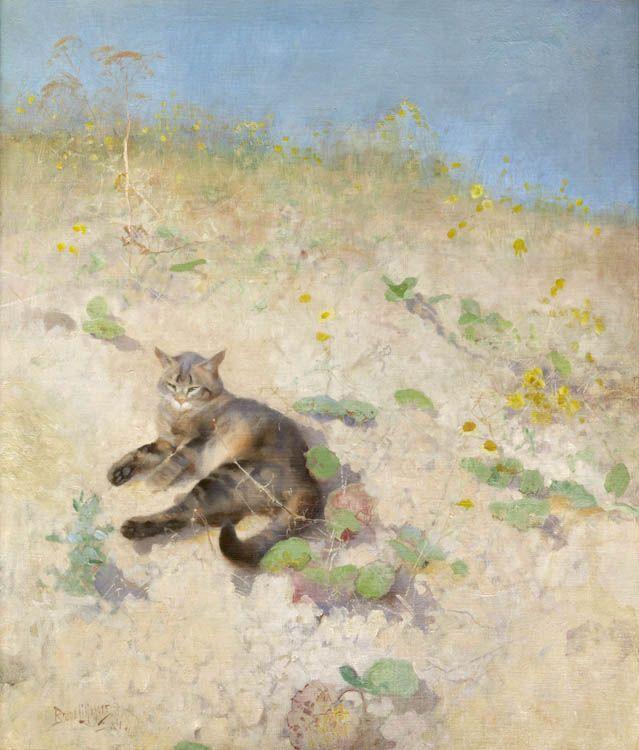 Bruno Liljefors, Jeppe-kissa auringonpaisteessa, 1884