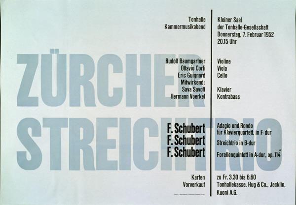 Zürcher Streichtrio - Tonhalle Kammermusikabend - 7. Februar 1952-Plakat