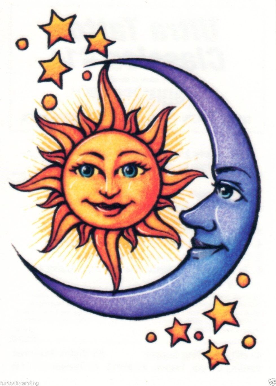 Sun Moon Stars Astrological Ultra Classic Temporary Tattoo