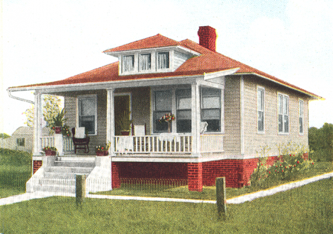 Craftsman House Red Roof
