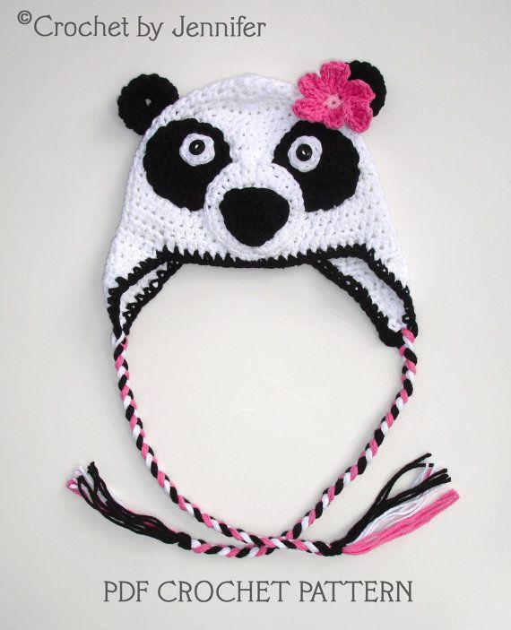 Panda Hat Crochet Hat Pattern Panda Crochet By Jennifer