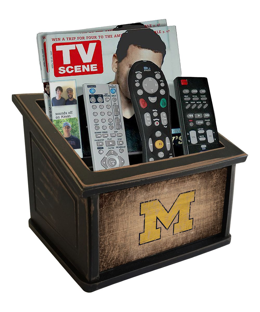 Michigan Wolverines Woodgrain Media Organizer