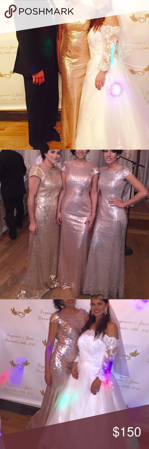 Rose gold long dress beautiful dress rose gold sequins throughout