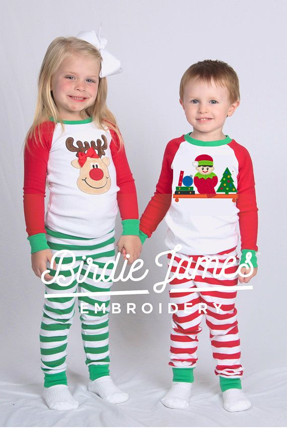 Elf Christmas pajamas Train Reindeer or Elf Baseball top pants sets ...