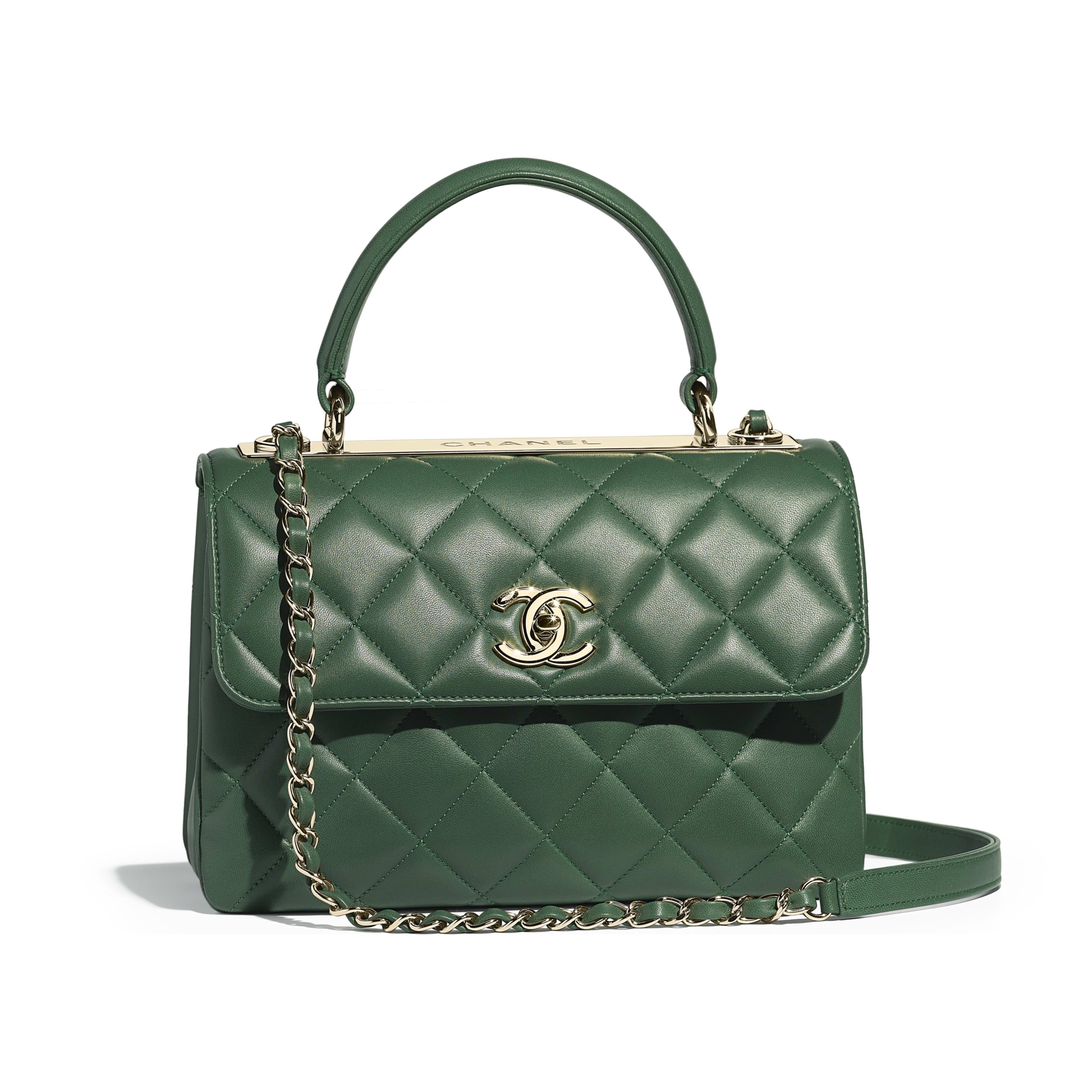 Small Flap Bag with Top Handle Lambskin   Gold-Tone Metal Green - view 1 -  see full sized version f1cd970d57bb1