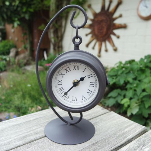 Hanging Garden Clock On Stand. Double Sided With Thermometer On The Other  Side.