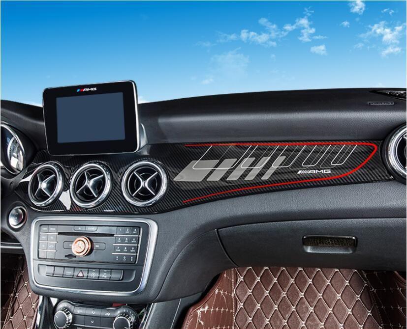 1pcs Carbon Fiber Abs Car Interior Dashboard Cover For Benz Cla