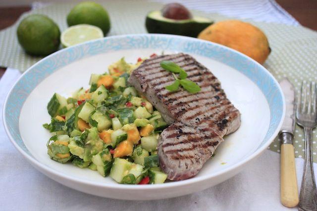 Tuna Steak with Mango Avocado and Lime Salsa