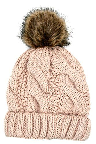 6f1423b2f39 Women s Thick Cable Knit Beanie Hat with Soft Faux Fur Pom Pom (Pink) Angela