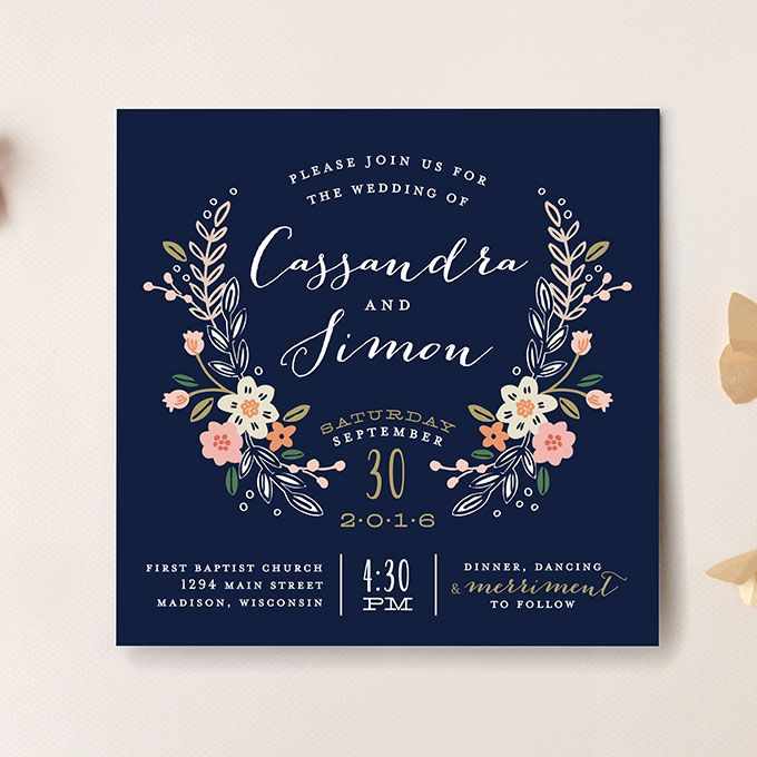 Brides formal navy invitation with floral crest wildflower crest brides formal navy invitation with floral crest wildflower crest wedding invitation starting at 204 for 100 invitations alethea and ruth for minted stopboris Choice Image