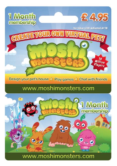 Moshi Monsters Membership Card Moshi Monsters Membership Card Online Games For Kids