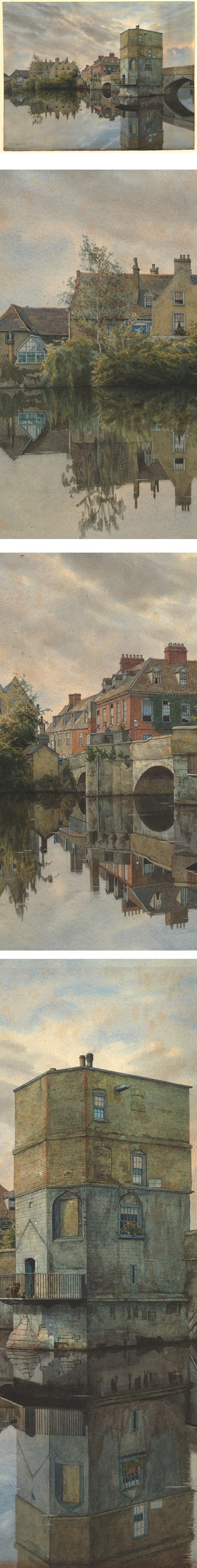 St. Ives Bridge (1895), St. Ives, Huntingdonshire; William Fraser Garden (1856–1921)  Watercolor, pen and gray ink, with touches of gouache on paper, 14×18 in (35x46cm).